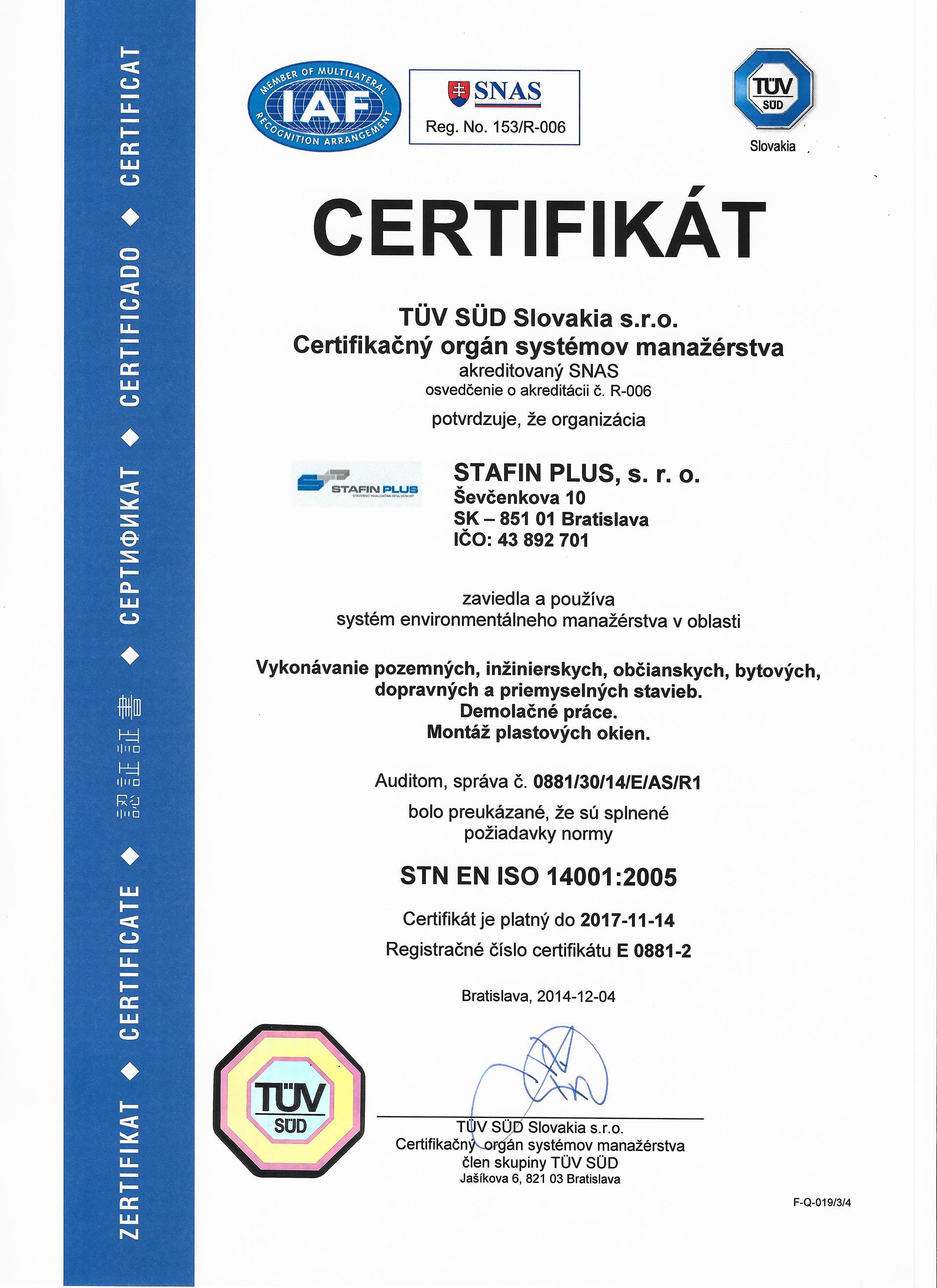 Certifikát STN ISO 14001