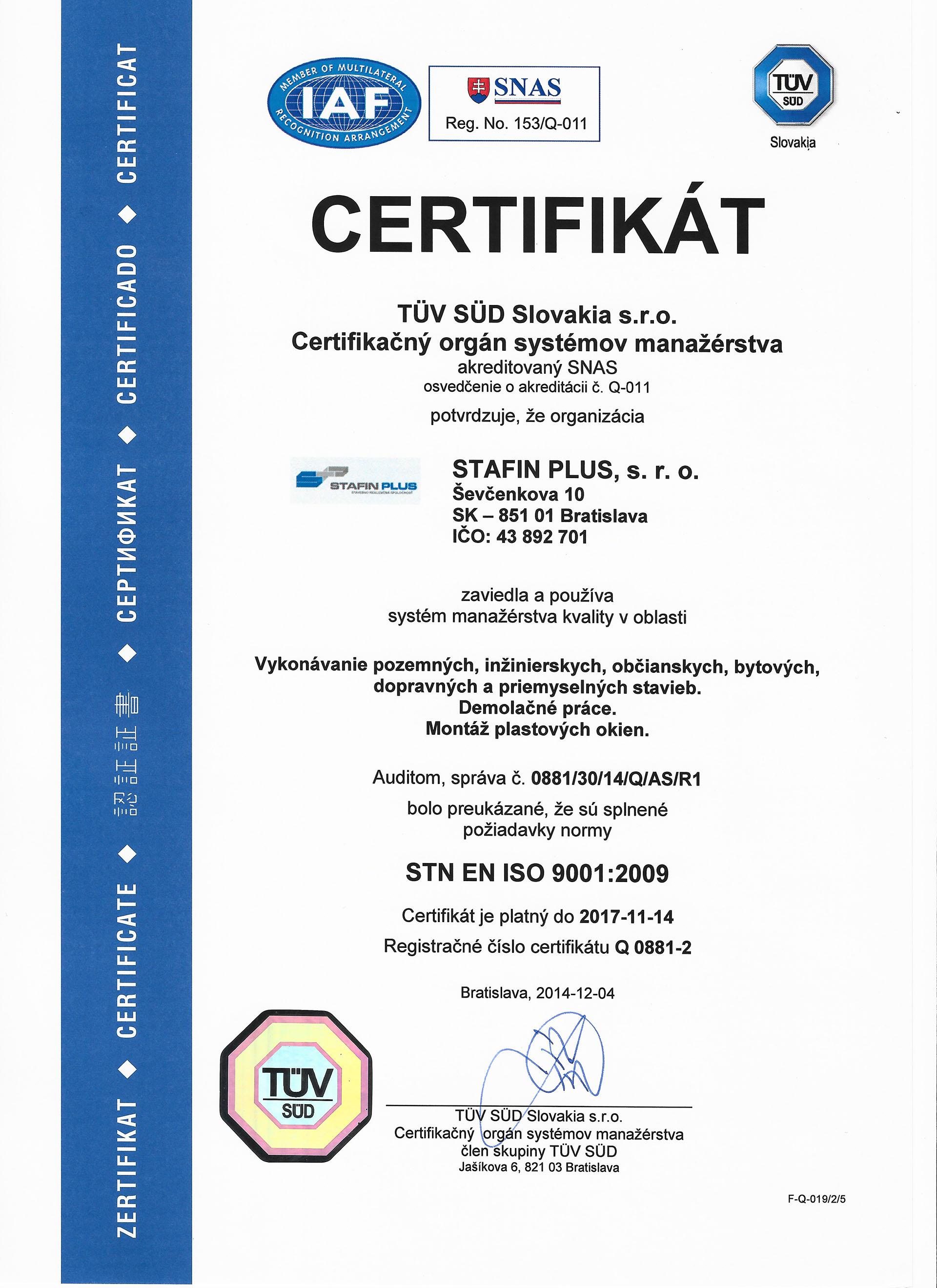 Certifikát STN ISO 9001