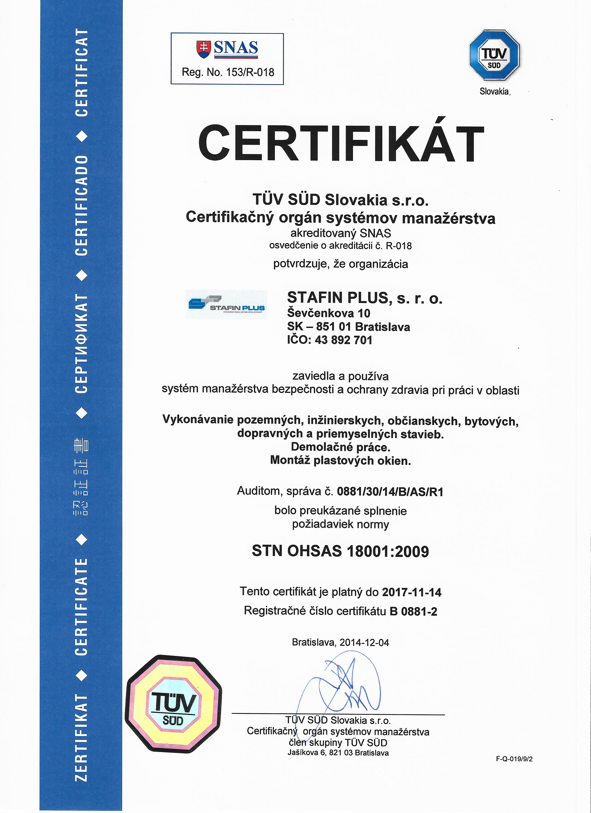 Certifikát STN OHSAS 18001