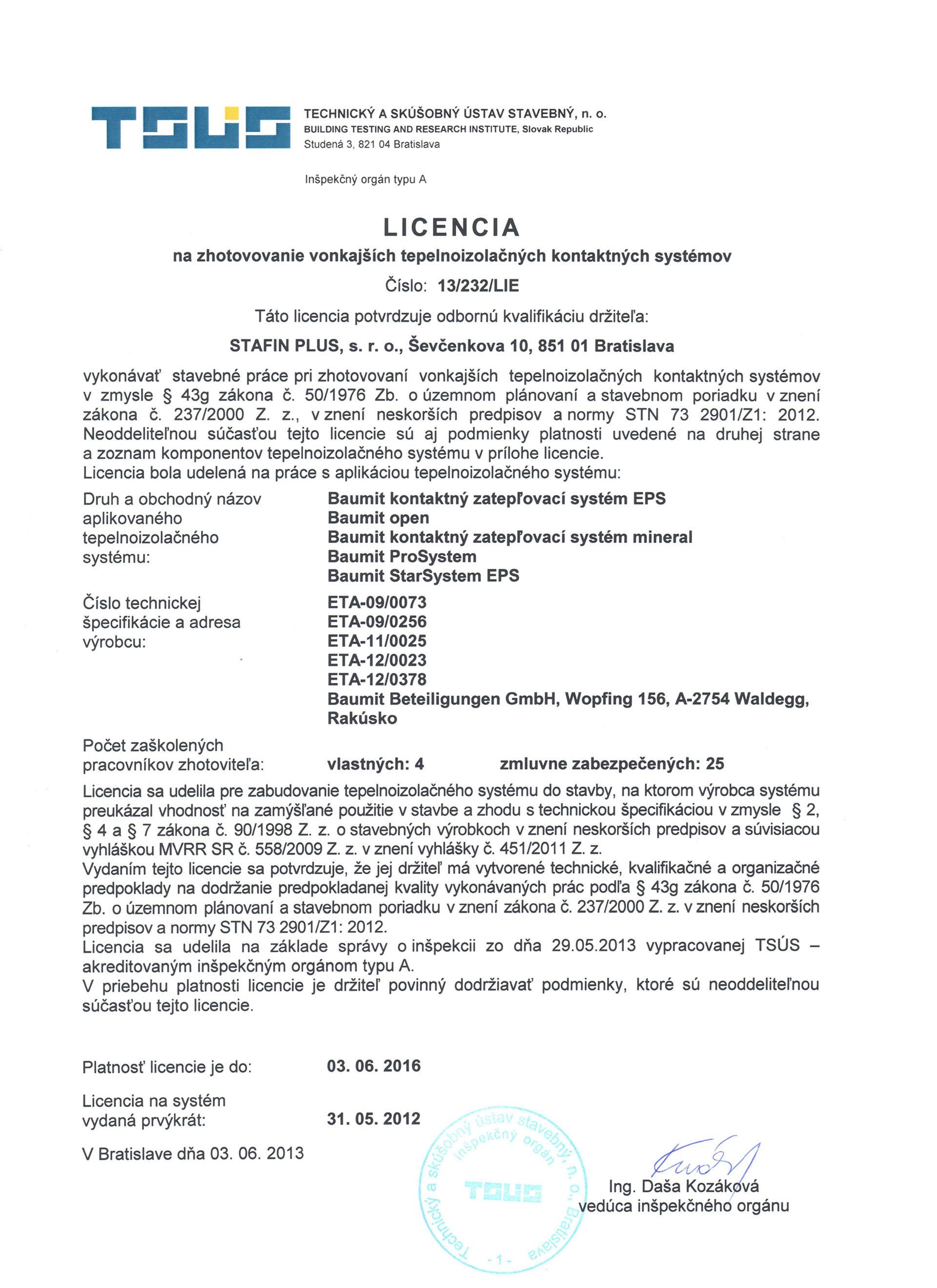 Licencia BAUMIT 20131370427306